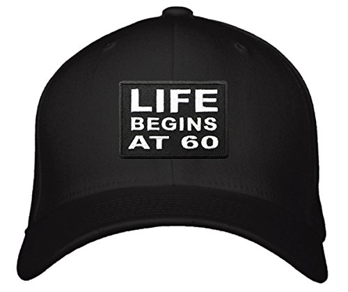Life Begins At 60 Hat - Unisex Adjustable Black - Funny Cap Great 60th Birthday Gift For Mom Dad Grandma Grandpa Friend - Woman Glasses For 60 Year Old Frames