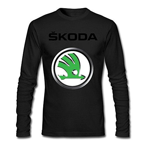 FZLB Men's Skoda Auto Logo Long Sleeve T-Shirt Black (Vw Logo Tshirt)