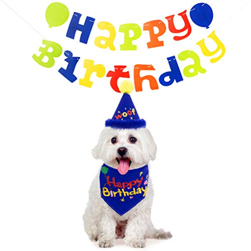 KOOLTAIL Dog Birthday Party Supplies - Happy Birthday Bandanas and Flag WOOF hat - Birthday Decorations Set for Pet
