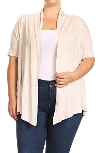 (Plus Size Solid Print Casual Short Sleeve Draped Open Front Cardigan/Made in USA Cream 3XL)