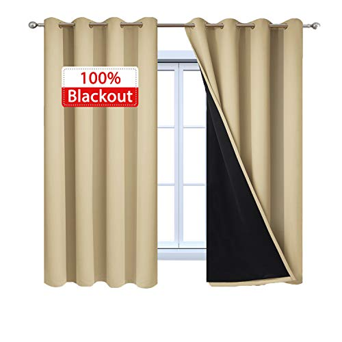 Yakamok Home Decor Thermal Insulated Full Blackout 2-Layer Lined Drapes 100% Blackout Curtains with Black Liners, Energy Efficiency Window Draperies for Bedroom(52Wx63L, Beige, 2 Panels)