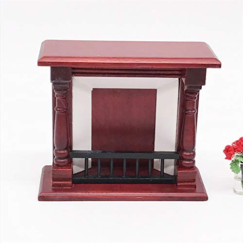 NszzJixo9 Artificial 1/12 Miniature Dollhouse Furniture Wooden Vintage Red Fireplace Table Chair Set Living Room Kids Pretend Play Toy from NszzJixo9