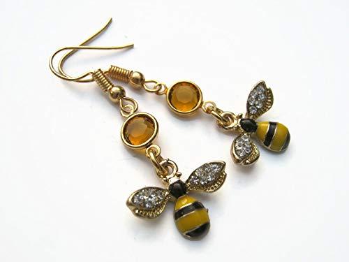 (Enameled Bee Birthstone Earrings, Gold Tone Queen Earrings, Personalized Jewelry, Rhinestone Wings)