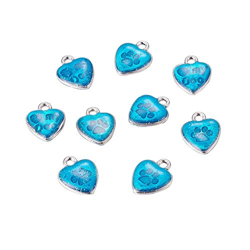 - B.D craft 10pcs 2mm Blue Enamel Heart Pendant Platinum Metal Double-Sided with Paw Print and Word My Dog Pendant Charms, DIY Jewelry Making Findings, 15x12mm