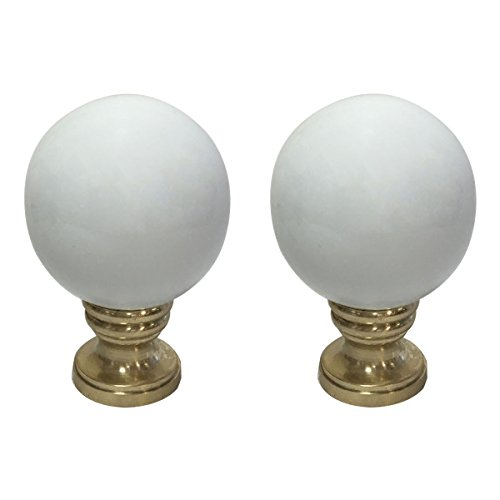 Royal Designs Ceramic Sphere White Lamp Finial with Polished Brass Base - Set of - Antique Brass Shaped Lamp Finial