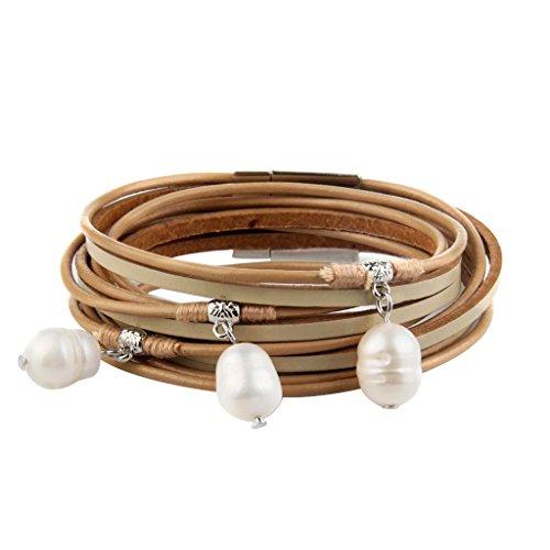 Baosity Handcraft Multilayer PU Leather Cuff Plastic Pearls Dangle Bracelet for Women Girl39x1.5CM - Khaki (Dangle Cuff Bracelet)