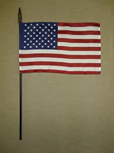 """United States U.S. USA Hand Held Desk Table Top Polyester Flag 8"""" X 12"""" on 18"""" Black Wood Staff with Gold Spear Tip (6 Pack)"""