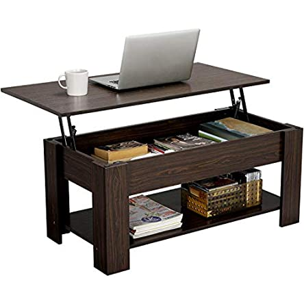 YAHEETECH Modern Lift Top Coffee Table with Hidden...