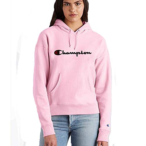 Champion LIFE Women's Reverse Weave Pullover Hood, Pink Candy/CHAINSTITCH Script Small