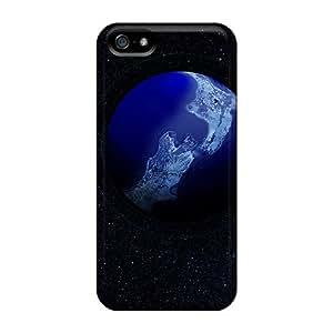 High Grade Hot-cat Flexible Tpu Case For Iphone 5/5s - Earth 3d