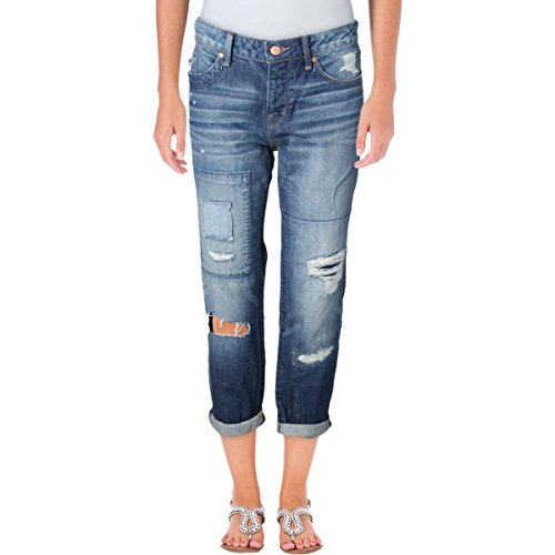 Marc by Marc Jacobs Womens Taylor Crop Destroyed Cropped Boyfriend Jeans Blue (Marc Jacobs Cropped)