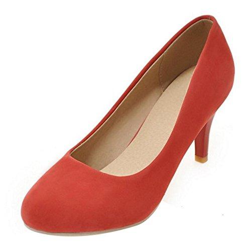 COOLCEPT Zapato Mujer Simple Tacon de Aguja Sin Cordones Tacon Ancho medio Court Zapatos Rojo