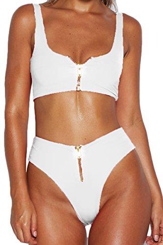 Gold-White Fashion Bikini Set in Australia - 7