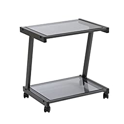 Scranton and Co Smoked Glass Printer Cart in Graphite Black