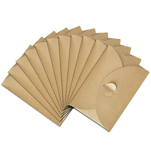 (Mcree 50Pcs Mini Kraft Paper Envelopes with Heart Clasp for Christmas Cards DIY Craft, 10.5 7.2cm)