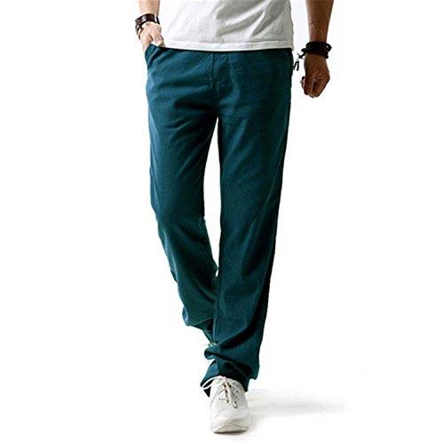 DAWENBI Men Healthy Linen Pants Breathable Slim Flax Trousers Hemp Cotton Casual Pants Jean Blue XXXL Homme Denim Pants