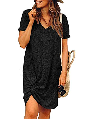 MIHOLL Women's Casual Dresses Short Sleeve V Neck Twist Knot Summer T Shirt Dress (Large, Black)