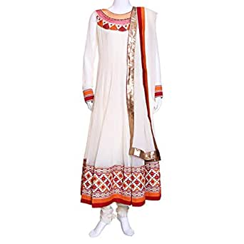 Kalaniketan Off White Casual Anarkali Set For Women