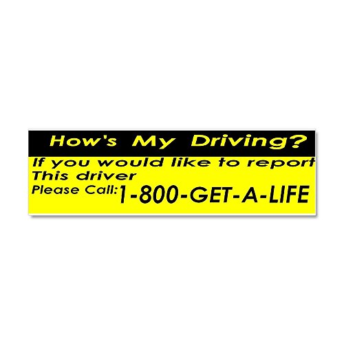 CafePress - How's My Driving - Car Magnet 10 x 3, Magnetic Bumper -