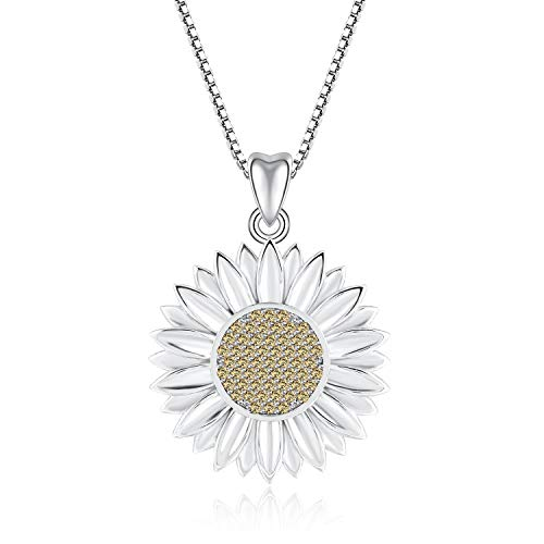 925 Sterling Silver Pendant Chain Necklace & 18K Gold Plated for Women Teenage Girls, Ideal Gift for Birthdays/Christmas/Wedding by Angemiel