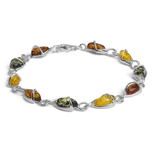 - Sterling Silver Multicolor Amber Drop Bracelet 7.5 Inches