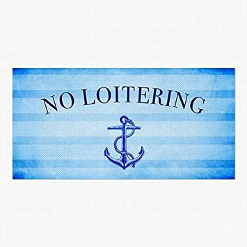 Nautical Stripes Perforated Window Decal 96x48 CGSignLab No Loitering