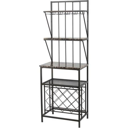Faux Marble Shelf Baker's Rack with Wine Bottle Storage, Antique Brass Finish