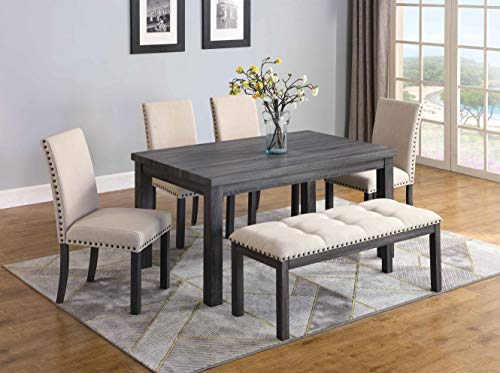 Best Master Furniture H800 Helena 6 Pcs Dining Set with Bench, Antique Grey