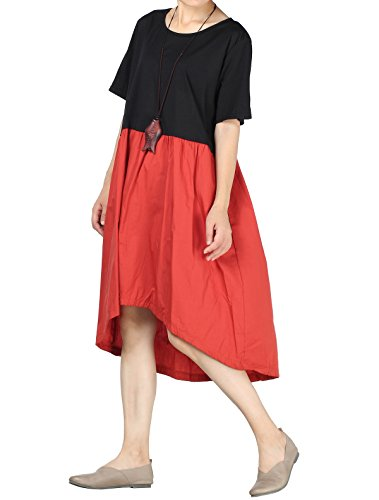Mordenmiss Women's Color Block High Low Hem T-Shirt Dress with Pockets (S, - Short Sleeve Pintuck Dress