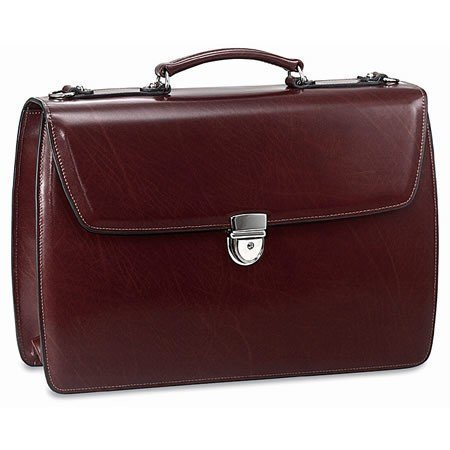 (Jack Georges Elements Triple Gusset Flap Leather Briefcase W/open Back Pocket - Burgundy )
