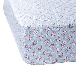 Aqua/melon Mosaic Crib Sheet