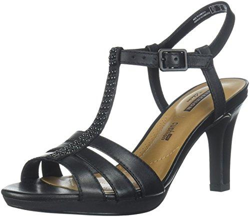 CLARKS Women's Adriel Tevis Platform, Black Leather/Textile Combination, 7.5 Medium US