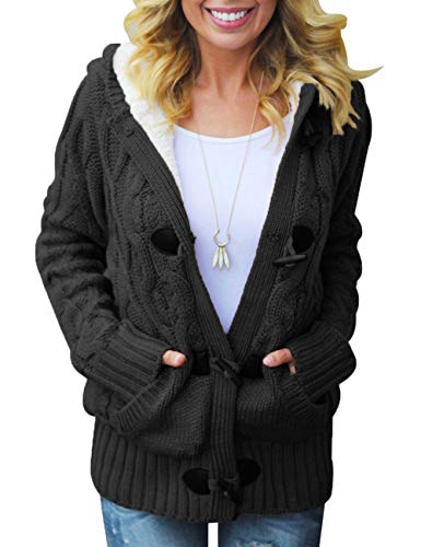 CILKOO Womens Fashion Regular Plus Size Winter Hooded Cardigans Solid Open Front Long Sleeve Cable Knit Sweater Fleece Coat Outwear Black US20-22 XXLarge