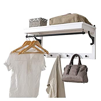 Image of Solid Wood Wall Hanging Coat Rack Creative Multi-Function Hook Living Room Porch Hanging Wall Coat Rack Rack,White Home and Kitchen