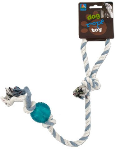 20'' Dog Rope Toy With Plastic Ball [24 Pieces] - Product Description - 20'' Dog Rope Toy Has A Loop Handle On One End And An Attached Plastic Ball On The Other. Materials: Cotton, Plastic. Colors: Blue, Turquoise, White. ...