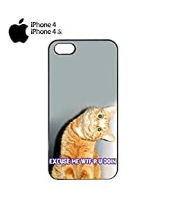 Cat Ginger Kitten WTF Meow Mobile Cell Phone Case Cover iPhone 4&4s Black