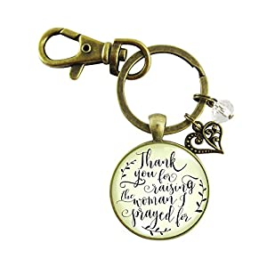 Groom's Mom Wedding Keychain Thank You For Raising the Man I Prayed For Christian Mother In Law Gift From Bride