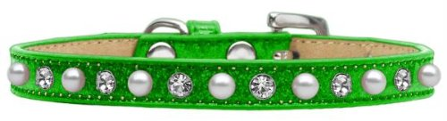 Mirage Pet Products Pearl and Jewel Ice Cream Collar, 10-Inch, Lime Green