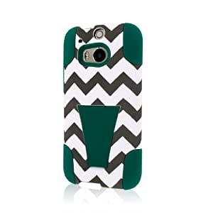 Empire MPERO IMPACT X Series Kickstand Case for The All New HTC One M8 - Retail Packaging - Teal Chevron
