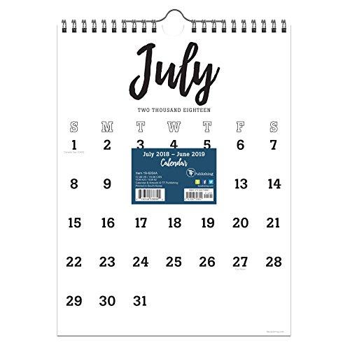 TF Publishing 19-6204A July 2018 – June 2019 Black & White Script Monthly Wall Calendar, 9 x 12″, Black & White