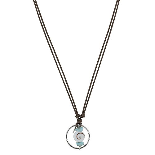 Les Poulettes Jewels - Necklace Cotton Link Silver Ring Two Larimar Nuggets and Eye of St. Lucia - Deep (Larimar Nuggets)