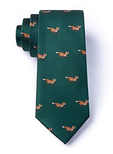 - Men's Hunter Green Prowling Foxes Fox Tie Necktie