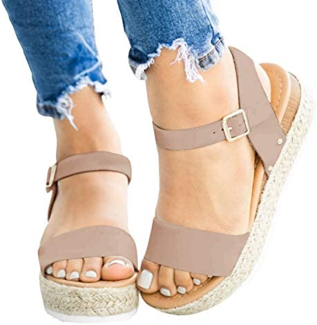 Nailyhome Womens Espadrille Flatform Sandals Open Toe Ankle