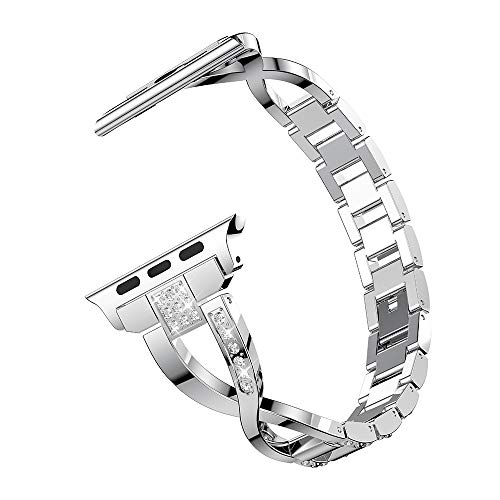 (MiniPoco Tech Replacement Stainless Steel Crystal Strap Wrist Band for Apple Watch 4 40mm)