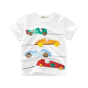 Fairy Baby Toddler Boys Summer Short Sleeve T-Shirt Graphic Tops Tee Cartoon Shirt Size 2T (Creamy-White)