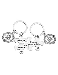 bobauna Distance Means So Little When You Mean So Much Keychain Set Long Distance Gift for Couples Best Friends
