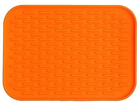 rouge iDesign /égouttoir /à vaisselle grand tapis /égouttoir en silicone tapis /égouttoir vaisselle rainur/é pour s/échage des couverts et assiettes