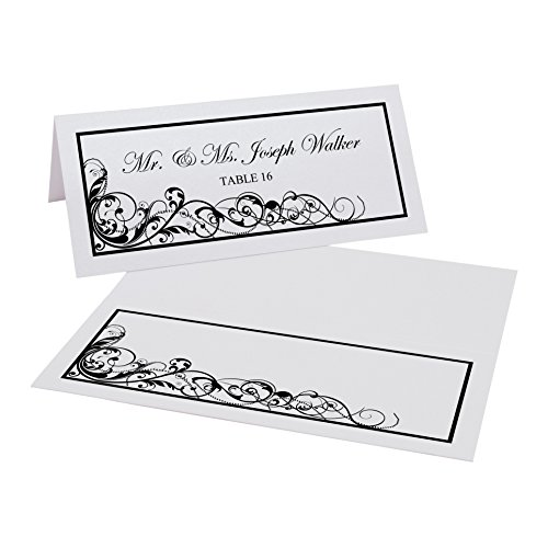 Documents and Designs Scribble Vintage Swirl Easy Print Place Cards (Select Color), Black, Set of 60 (10 Sheets) -