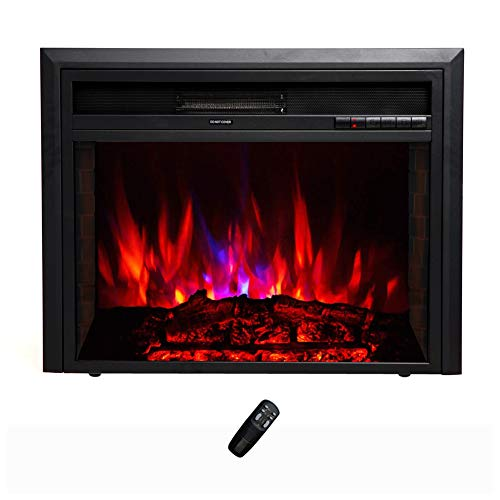 FLAME&SHADE Electric Fireplace Insert - Recessed or Freestanding - Width 28in (Electric Fireplace Insert 36 Inch)