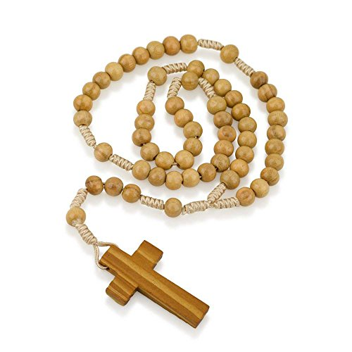 Marina Jewelry Genuine Olive Wood Smooth Round Bead and Cord Necklace Rosary, Plain Wood (Rosary Wood Crucifix)